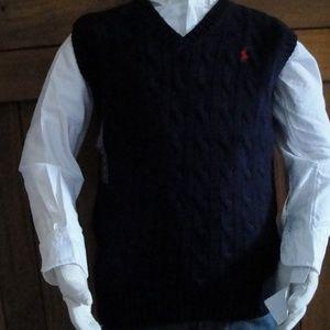 Boys Ralph Lauren Navy Cotton Cable Sweater Vest